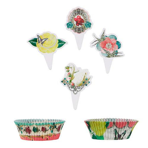 Pastries & Pearls Vintage Floral Cupcake Decoration Kit with 40 Wrappers Liners & Toppers