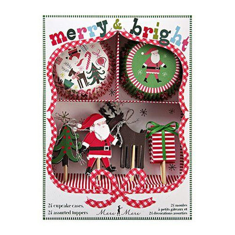 Christmas Merry & Bright Cupcake Decoration Kit with 24 Wrappers Liners & Toppers