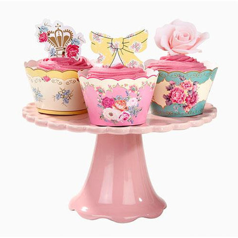 Truly Scrumptious Vintage Floral Cupcake Decoration Kit with 24 Wrappers & Toppers