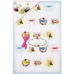 Frills & Frosting Pack of 17 Shabby Chic Vintage Floral Cupcake Toppers