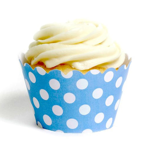 Pack of 12 Designer Polka Dots Sky Blue/White Cupcake Wrappers