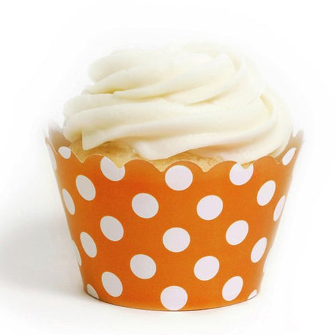 Pack of 12 Designer Polka Dots Orange/White Cupcake Wrappers