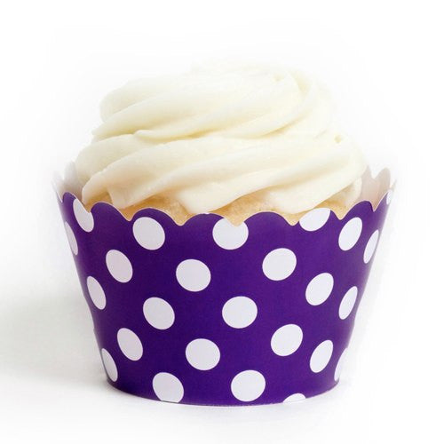 Pack of 12 Designer Polka Dots Purple/White Cupcake Wrappers