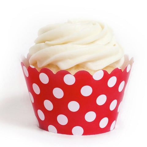 Pack of 12 Designer Polka Dots Red/White Cupcake Wrappers
