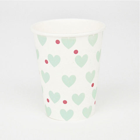 Pack of 8 Mint Aqua Hearts Pattern Party Beverage Cups