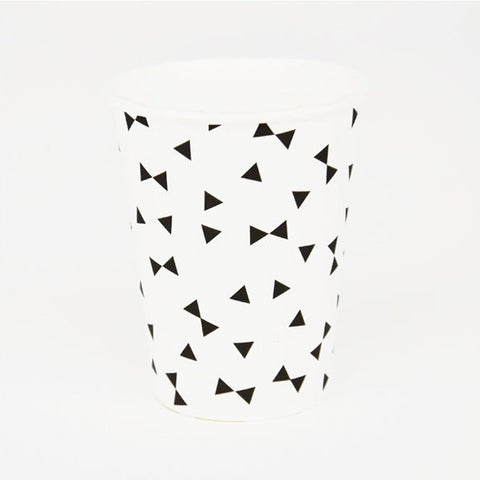 Pack of 8 Black Bow Tie Print Pattern Party Beverage Cups
