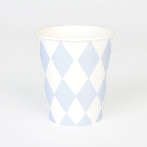 Pack of 8 Light Blue Diamond Print Pattern Party Beverage Cups