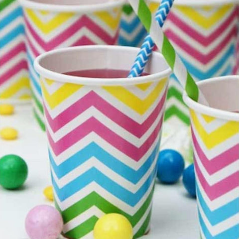 Chevron Rainbow Pack of 12 Party Beverage Cups 9oz (250ml)