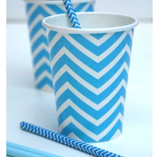 Chevron Blue Pack of 12 Party Beverage Cups 9oz (250ml)