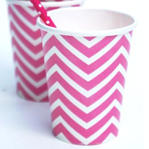 Chevron Bubblegum Pink Pack of 12 Party Beverage Cups 9oz (250ml)