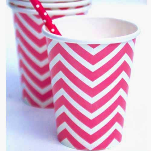 Chevron Hot Pink Pack of 12 Party Beverage Cups 9oz (250ml)