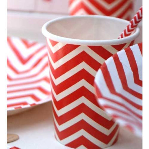Chevron Red Pack of 12 Party Beverage Cups 9oz (250ml)