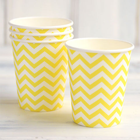 Chevron Yellow Pack of 12 Party Beverage Cups 9oz (250ml)