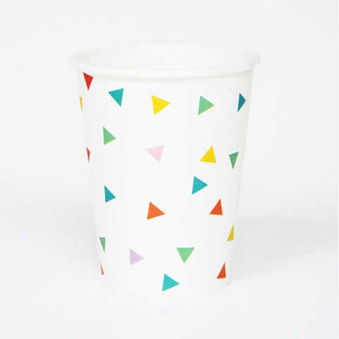 Pack of 8 Multi-color Confetti Print Pattern Party Beverage Cups
