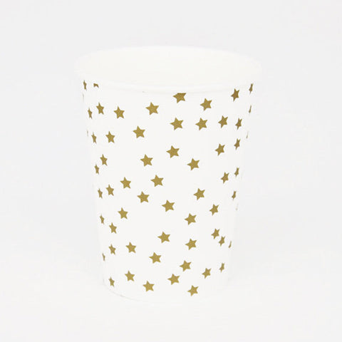 Pack of 8 Gold Stars Print Pattern Party Beverage Cups