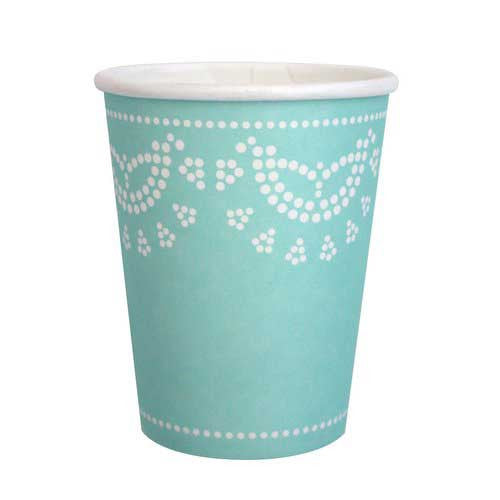 Scallop Lace Tiffany Aqua Mint Blue Pack of 10 Party Beverage Cups 9oz (250ml)