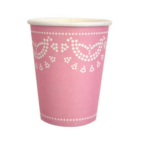 Scallop Lace Light Pink Pack of 10 Party Beverage Cups 9oz (250ml)