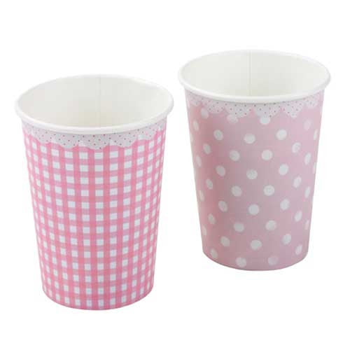 Pink n Mix Polka Dots Pack of 8 Polka Dots & Gingham Party Beverage Cups 9oz (250ml)