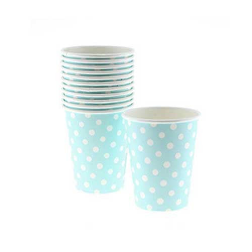 Polka Dots Light Blue Pack of 8 Party Beverage Cups 9oz (250ml)