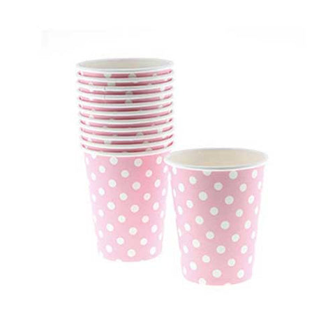 Polka Dots Light Pink Pack of 8 Party Beverage Cups 9oz (250ml)