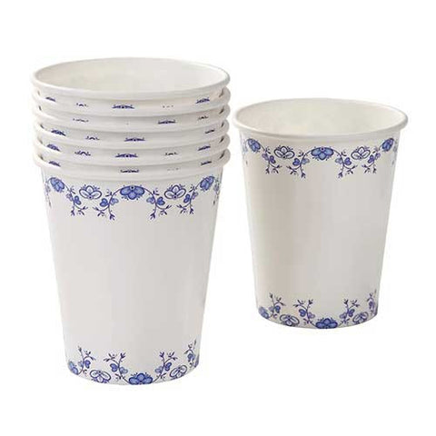 Porcelain Blue Pack of 8 Elegant Party Beverage Cups