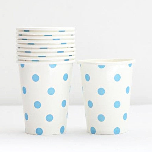 Polka Dots White/Light Blue Pack of 12 Party Beverage Cups 9oz (250ml)