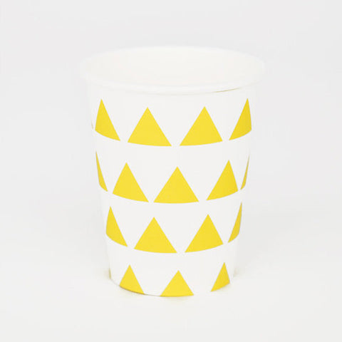 Pack of 8 Sunny Yellow Triangles Print Pattern Party Beverage Cups
