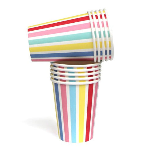Carnival Candy Stripes Pack of 10 Party Beverage Cups 9oz (250ml)