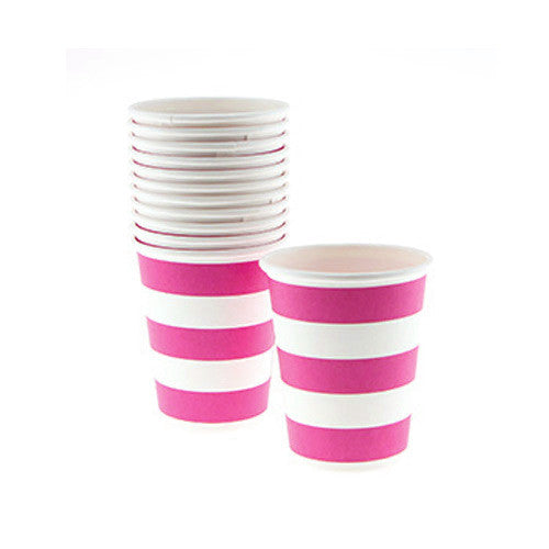 Candy Stripes Fuchsia Hot Pink Pack of 12 Party Beverage Cups 9oz (250ml)