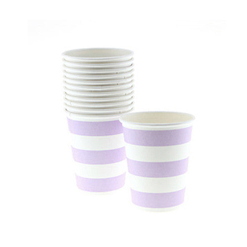 Candy Stripes Lavender Purple Pack of 12 Party Beverage Cups 9oz (250ml)