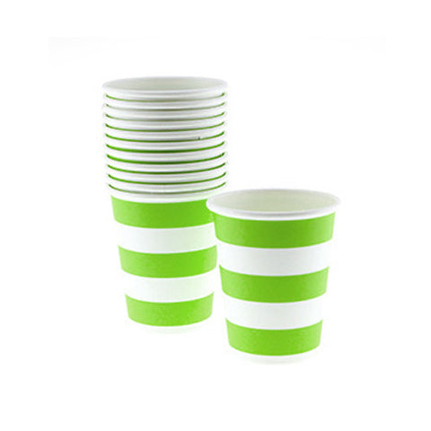 Candy Stripes Lime Green Pack of 12 Party Beverage Cups 9oz (250ml)