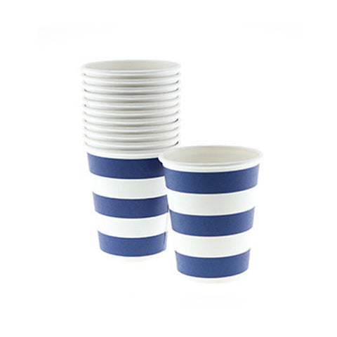 Candy Stripes Navy Blue Pack of 12 Party Beverage Cups 9oz (250ml)