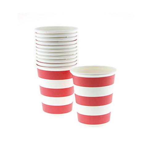 Candy Stripes Red Pack of 12 Party Beverage Cups 9oz (250ml)