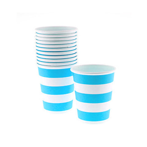 Candy Stripes Sky Blue Pack of 12 Party Beverage Cups 9oz (250ml)