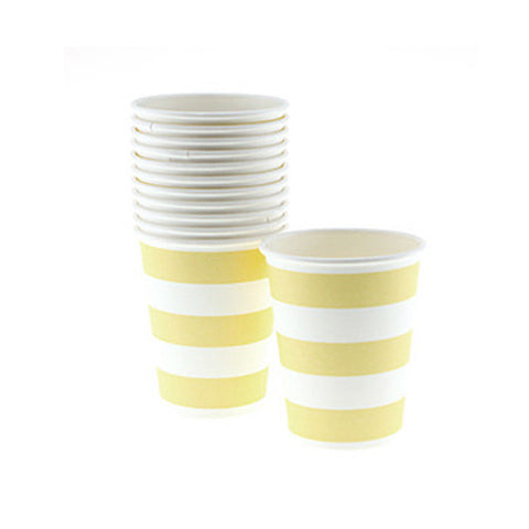 Candy Stripes Yellow Pack of 12 Party Beverage Cups 9oz (250ml)