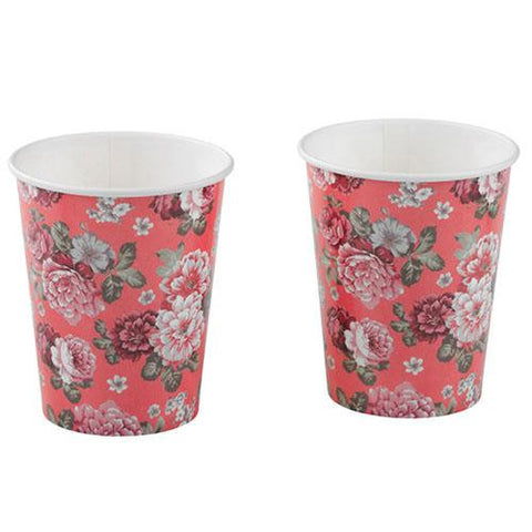 Truly Scrumptious Pack of 12 Vintage Garden Rose Party Beverage Cups