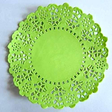 Pack of 20 Apple Green Lace Embossed Paper Doilies (11.4cm)