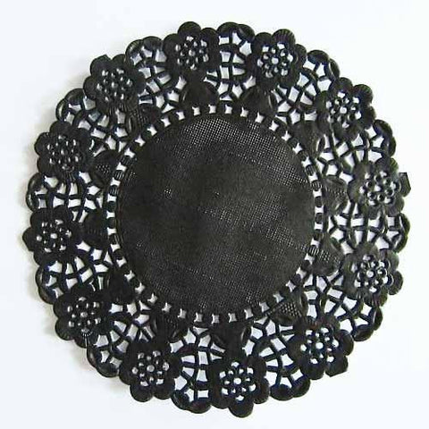 Pack of 20 Black Lace Embossed Paper Doilies (11.4cm)
