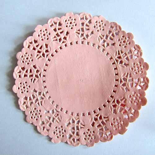 Pack of 20 Blush Pink Lace Embossed Paper Doilies (11.4cm)
