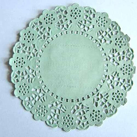 Pack of 20 Foam Green Lace Embossed Paper Doilies (11.4cm)