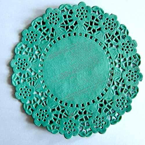 Pack of 20 Kelly Green Lace Embossed Paper Doilies (11.4cm)