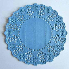 Pack of 20 Periwinkle Blue Lace Embossed Paper Doilies (11.4cm)