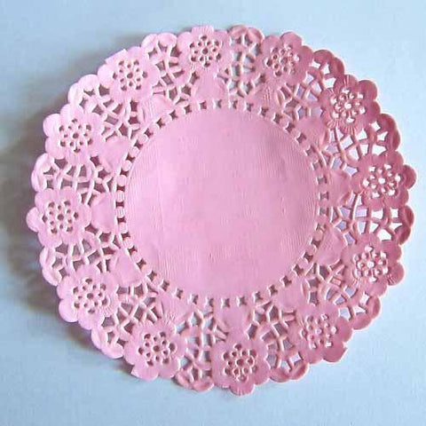 Pack of 20 Pink Lace Embossed Paper Doilies (11.4cm)