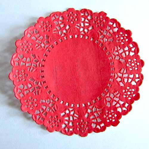 Pack of 20 Red Lace Embossed Paper Doilies (11.4cm)