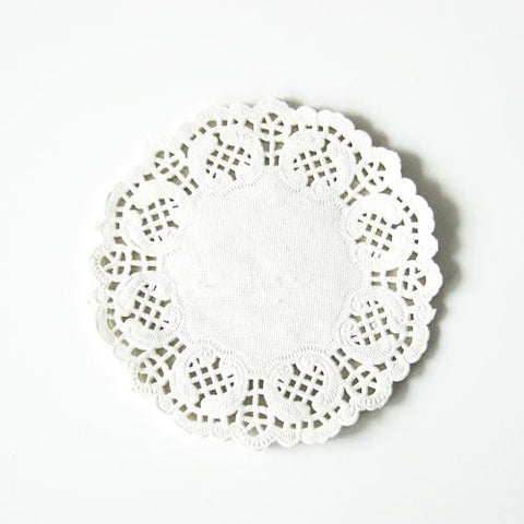 Pack of 20 Ivory Off-white Lace Embossed Paper Doilies (11.4cm)