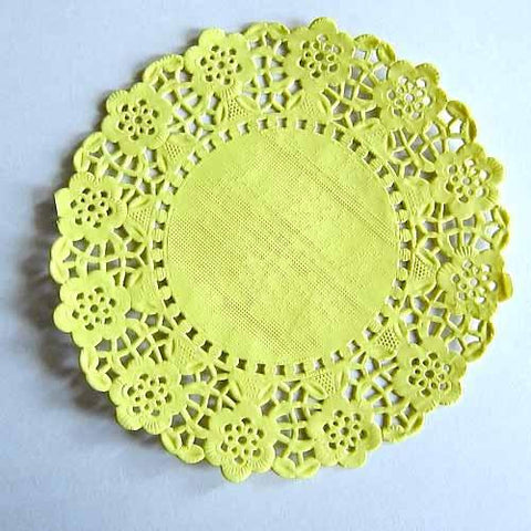 Pack of 20 Yellow Lace Embossed Paper Doilies (11.4cm)