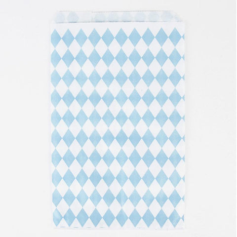 Pack of 10 Light Blue Diamond Print Pattern Party Favor Bags
