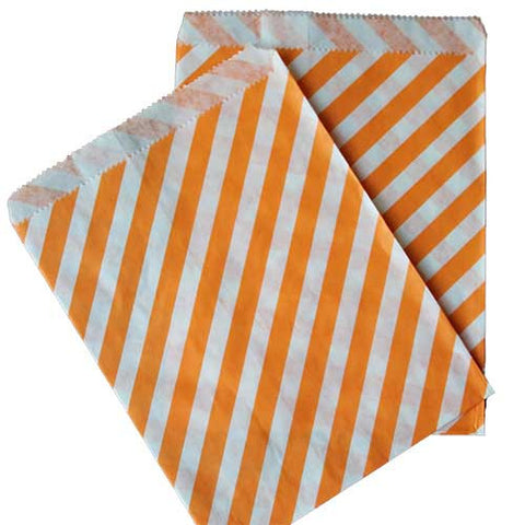 Pack of 25 Candy Stripes Orange/White Favor Treat Bags