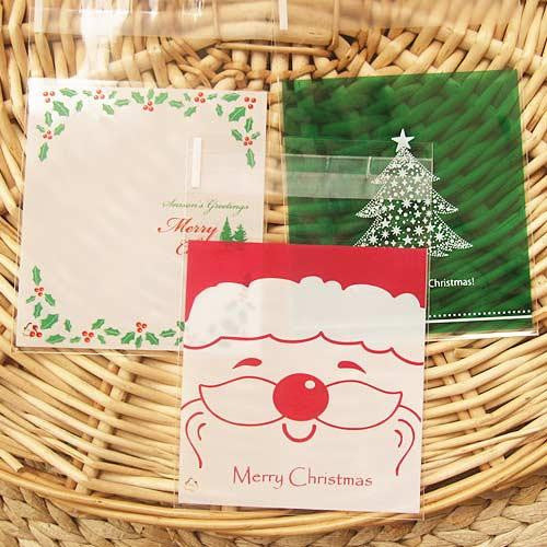 Pack of 12 Christmas Santa & Holly Self-adhesive Cookie Cello Favor Treat Bags