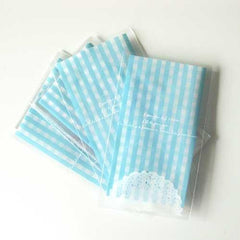 Pack of 20 Mini Gingham Lace Doily Cookie Cello Favor Treat Bags